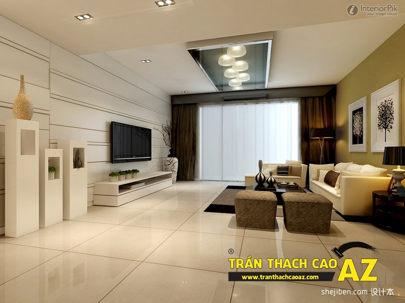Mẫu 5 - Trần thạch cao phòng khách đẹp hiện đại