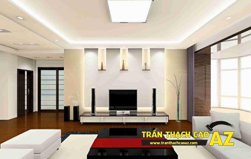 Mẫu 2 - Trần thạch cao phòng khách đẹp hiện đại