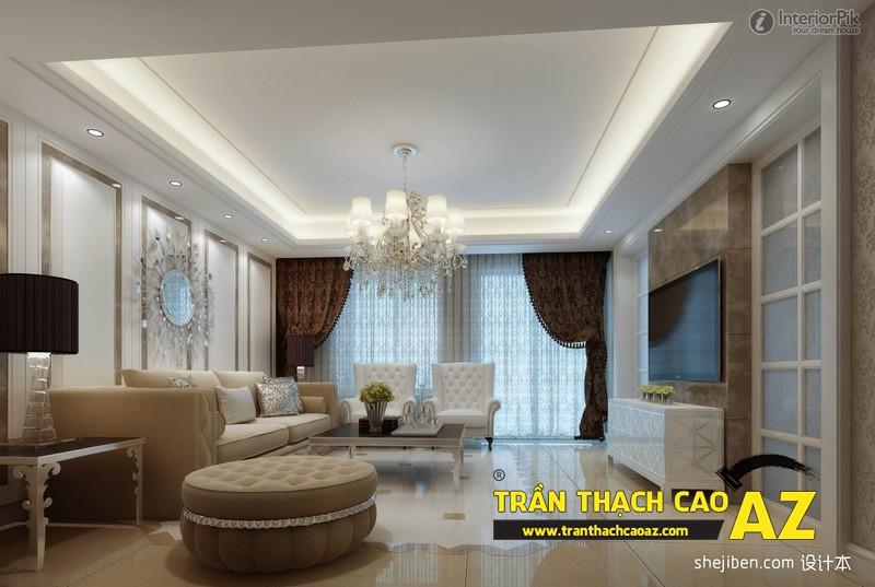 Mẫu 1 - Trần thạch cao phòng khách kếp hợp hiện đại và cổ điển