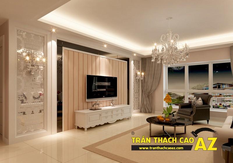 Mẫu 2 - Trần thạch cao phòng khách kếp hợp hiện đại và cổ điển