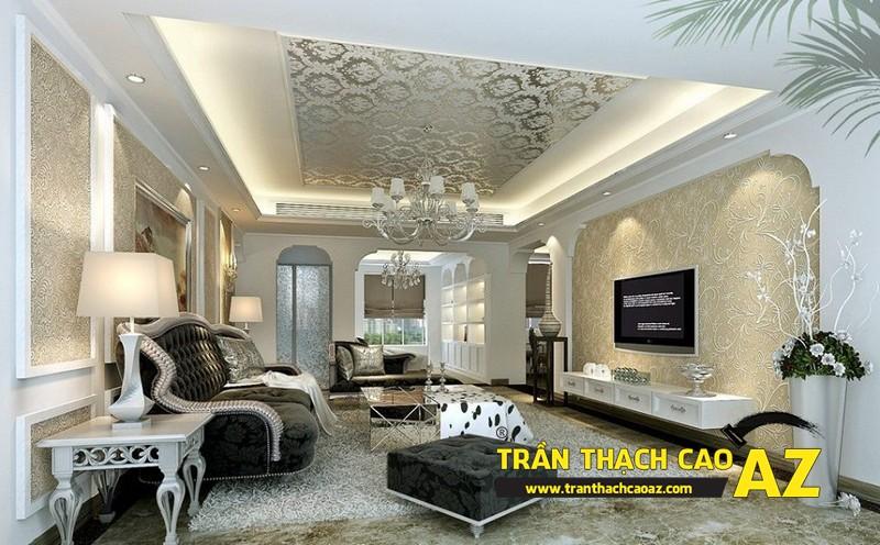 Mẫu 2 - Trần thạch cao phòng khách đẹp tân cổ điển