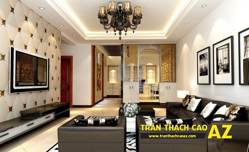 Mẫu 3 - Trần thạch cao phòng khách kếp hợp hiện đại và cổ điển