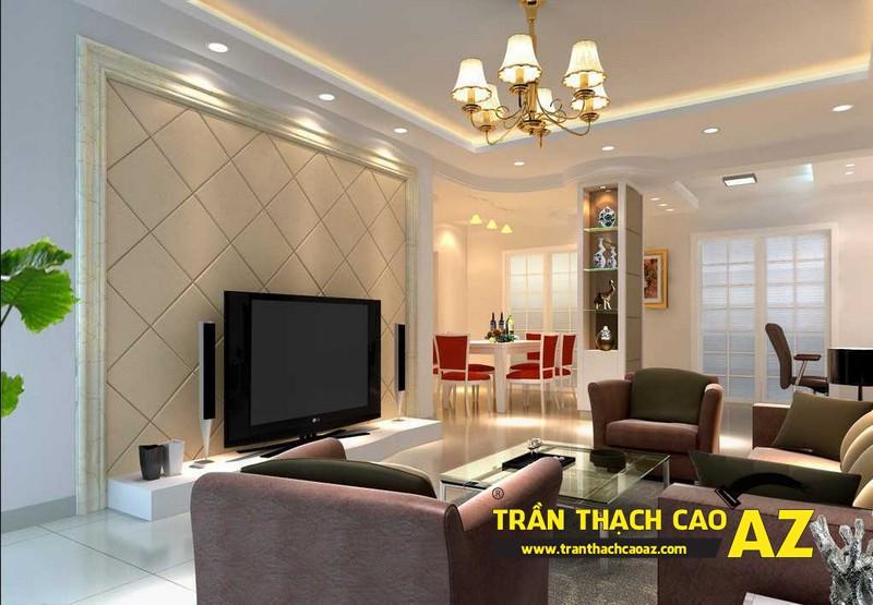Mẫu 4 - Trần thạch cao phòng khách kếp hợp hiện đại và cổ điển