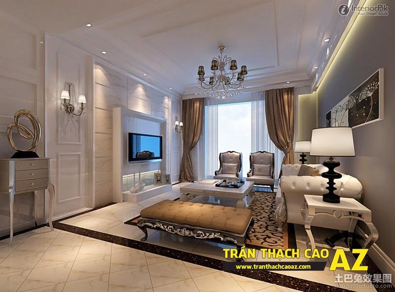 Mẫu 10 - Trần thạch cao phòng khách kếp hợp hiện đại và cổ điển