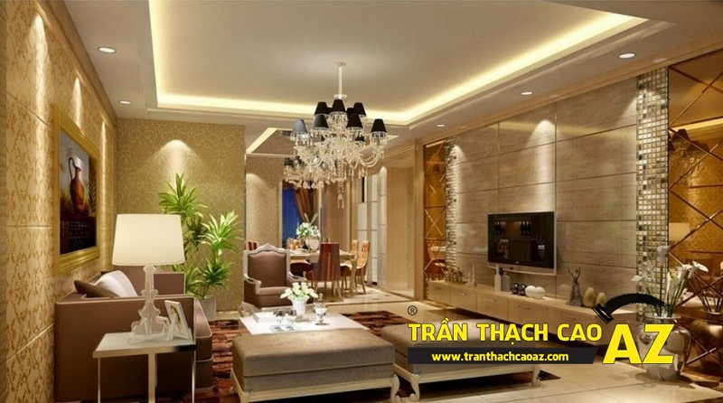 Mẫu 6 - Trần thạch cao phòng khách kếp hợp hiện đại và cổ điển
