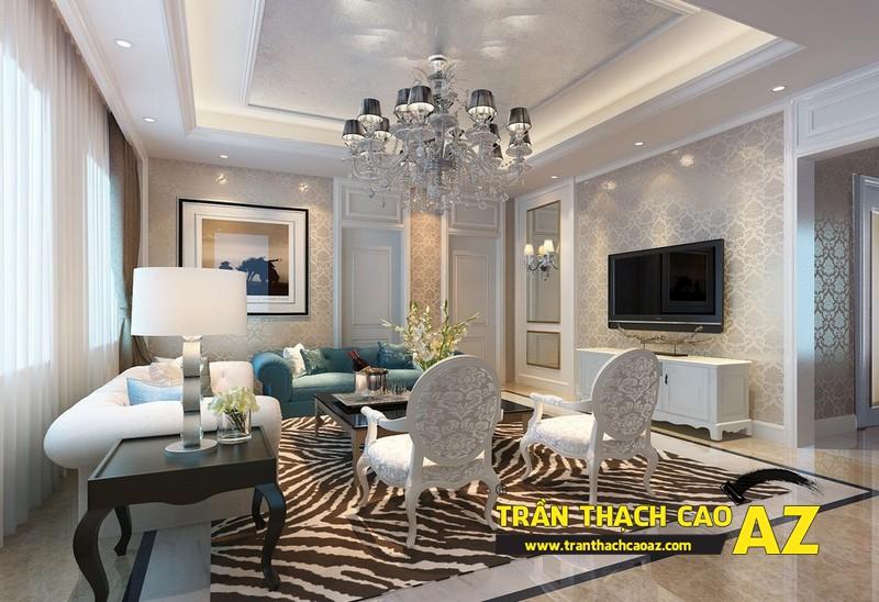 Mẫu 1 - Trần thạch cao phòng khách đẹp tân cổ điển