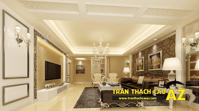 Mẫu 9 - Trần thạch cao phòng khách kếp hợp hiện đại và cổ điển