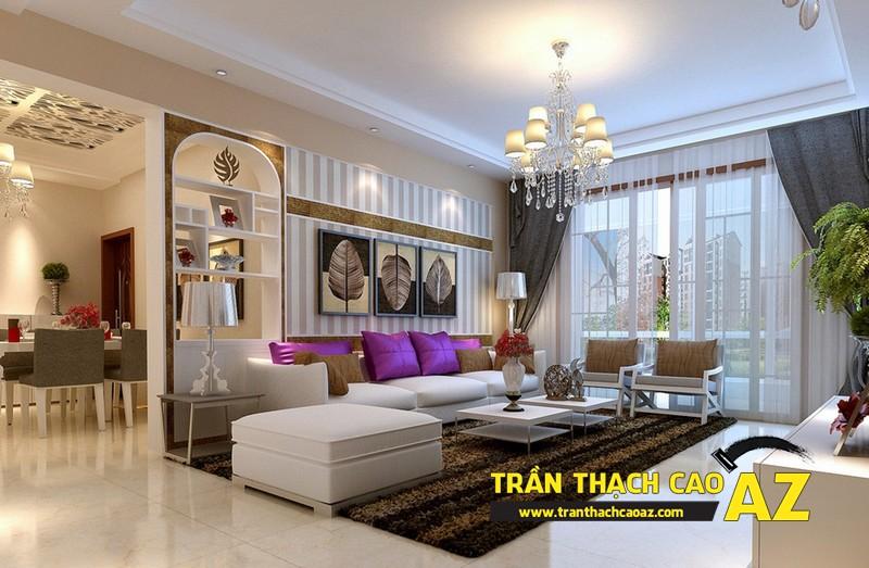 Mẫu 7 - Trần thạch cao phòng khách kếp hợp hiện đại và cổ điển