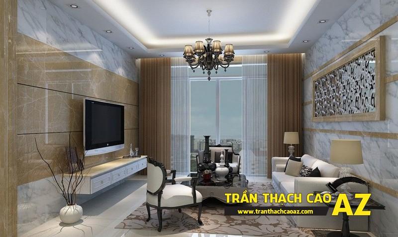 Mẫu 8 - Trần thạch cao phòng khách kếp hợp hiện đại và cổ điển
