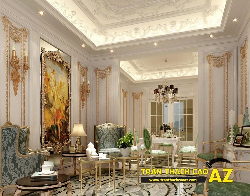 Mẫu 5 - Trần thạch cao phòng khách đẹp tân cổ điển