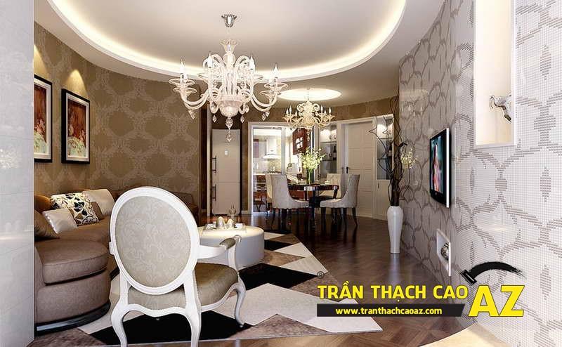 Mẫu 6 - Trần thạch cao phòng khách đẹp tân cổ điển