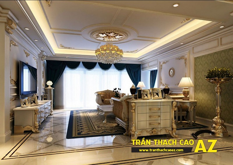 Mẫu 3 - Trần thạch cao phòng khách đẹp cổ điển