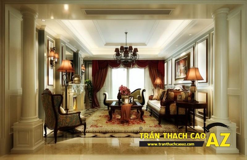 Mẫu 7 - Trần thạch cao phòng khách đẹp tân cổ điển