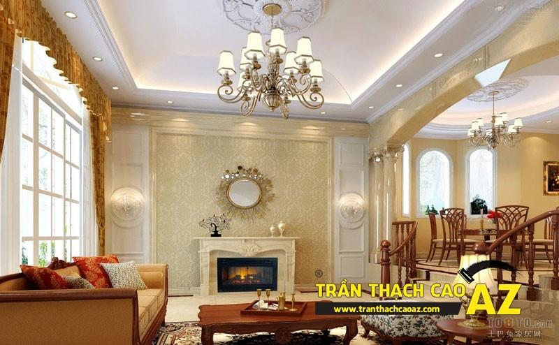 Mẫu 2 - Trần thạch cao phòng khách đẹp cổ điển