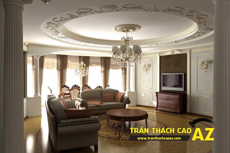 Mẫu 9 - Trần thạch cao phòng khách đẹp cổ điển