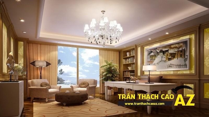 Mẫu 11 - Trần thạch cao phòng khách kếp hợp hiện đại và cổ điển