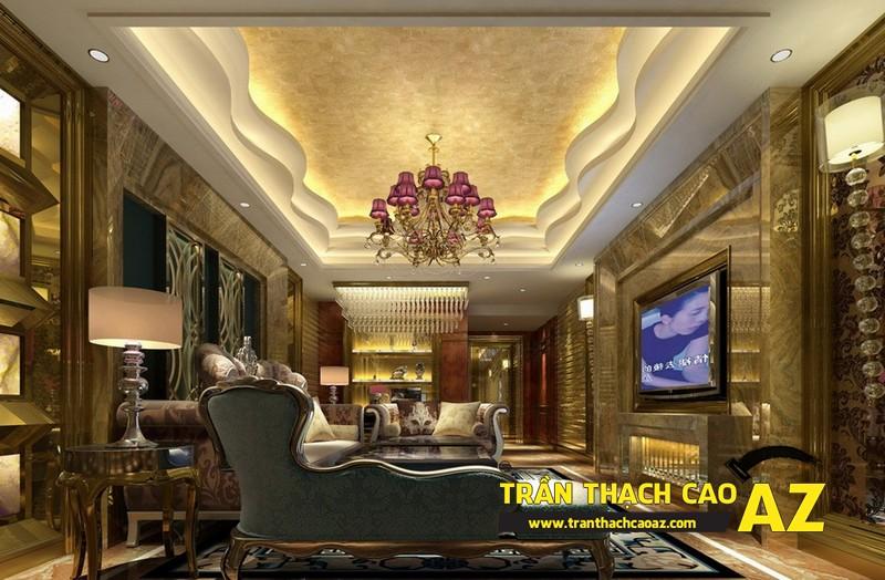 Mẫu 8 - Trần thạch cao phòng khách đẹp tân cổ điển