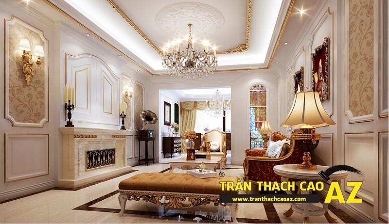 Mẫu 1 - Trần thạch cao phòng khách đẹp cổ điển