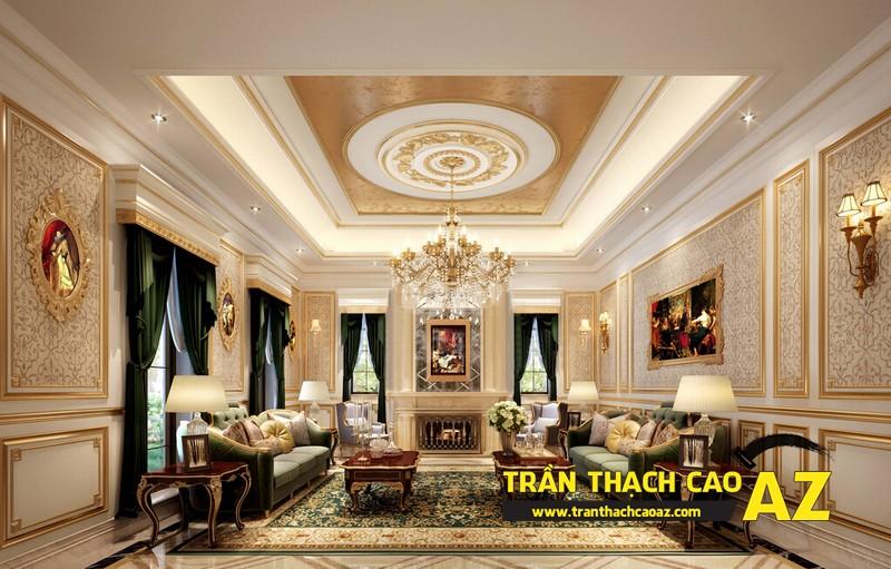 Mẫu 4 - Trần thạch cao phòng khách đẹp cổ điển