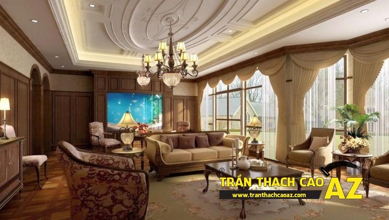 Mẫu 6 - Trần thạch cao phòng khách đẹp cổ điển