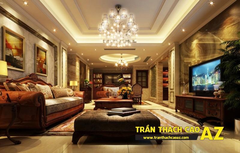 Mẫu 9 - Trần thạch cao phòng khách đẹp tân cổ điển