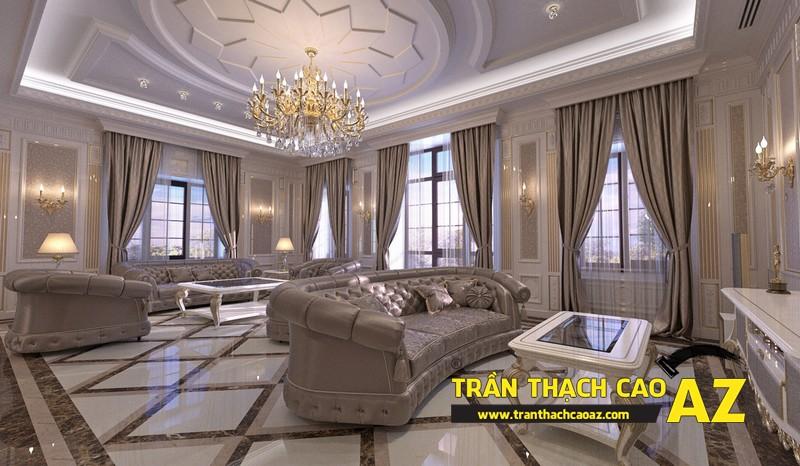 Mẫu 8 - Trần thạch cao phòng khách đẹp cổ điển