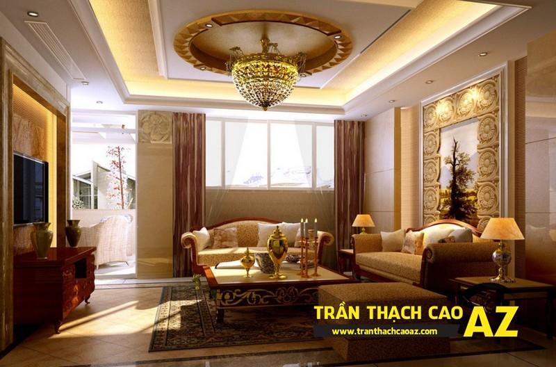 Mẫu 5 - Trần thạch cao phòng khách đẹp cổ điển
