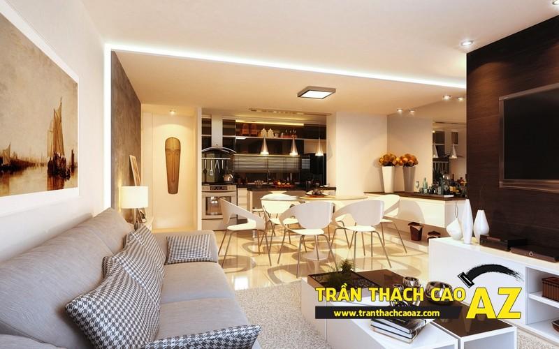 Xu hướng thiết kế sẽ thống lĩnh thị trường 2017 - mẫu trần thạch cao phòng khách liền bếp - 01