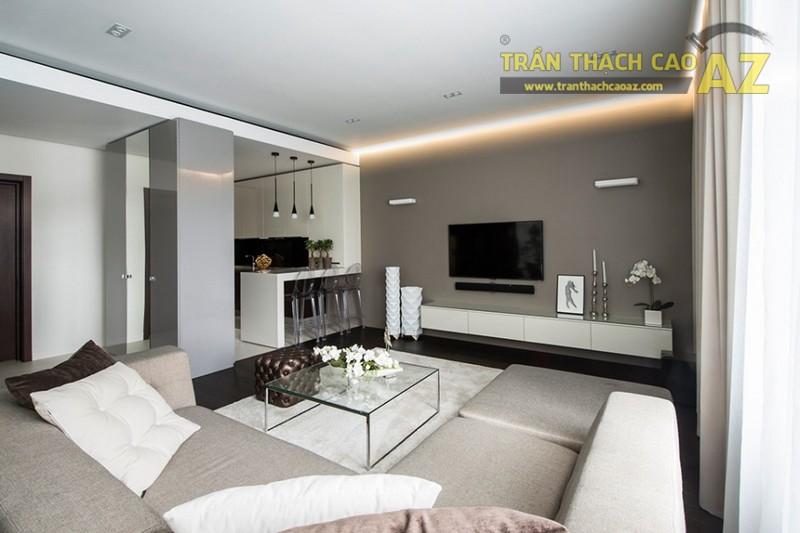 Mẹo thiết kế trần thạch cao phòng khách nhỏ - chọn kiểu trần đơn giản 02