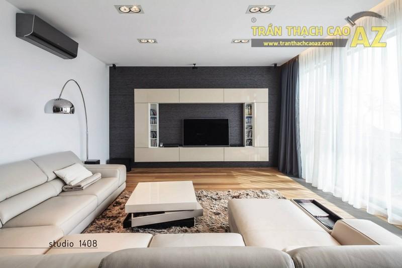 Mẹo thiết kế trần thạch cao phòng khách nhỏ - chọn kiểu trần đơn giản 01