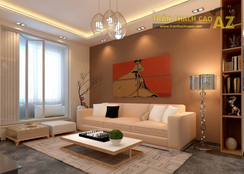 Mẹo thiết kế trần thạch cao phòng khách nhỏ - chọn màu sắc nhất quán 01