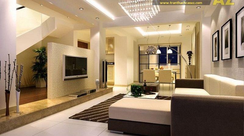 Phòng khách 15m2 đẹp như khách sạn 5 sao với trần thạch cao