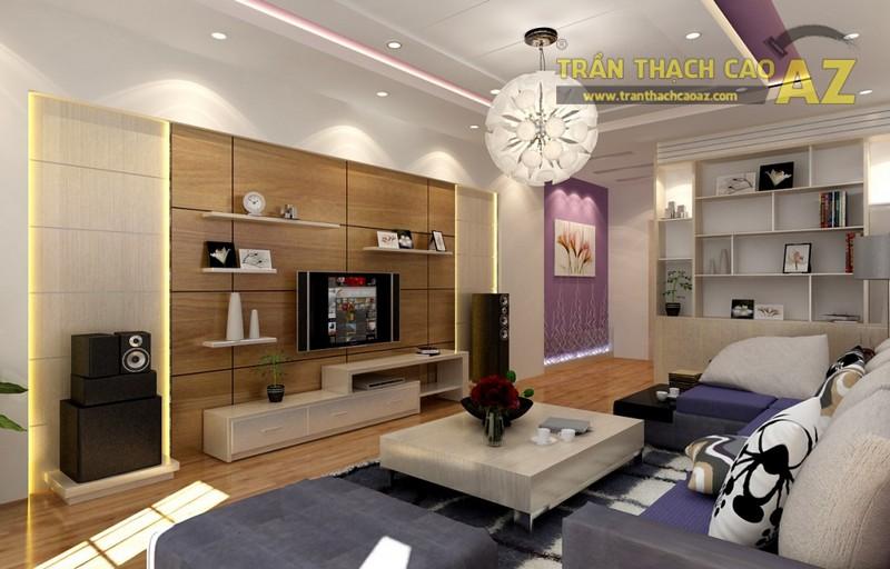Phòng khách có diện tích nhỏ có sử dụng được kiểu trần thạch cao giật cấp không?