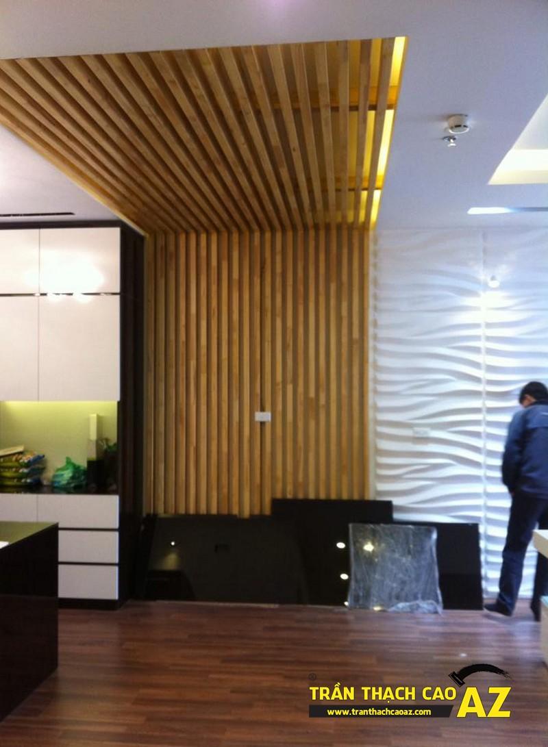 Thiết kế trần thạch cao phòng khách liền bếp đẹp nhà chị Lan 03