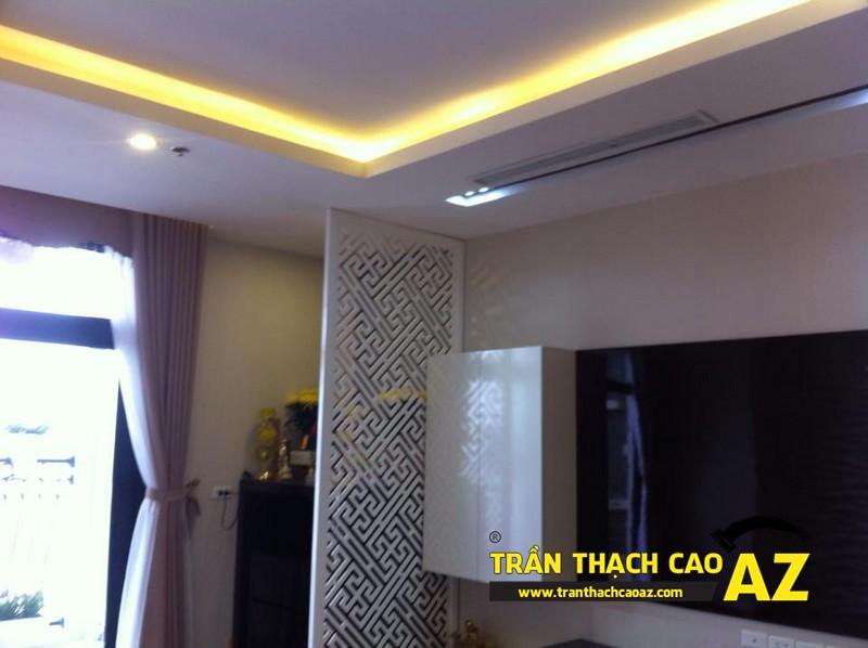Cận cảnh thiết kế trần thạch cao phòng khách đẹp nhà chị Lan 02