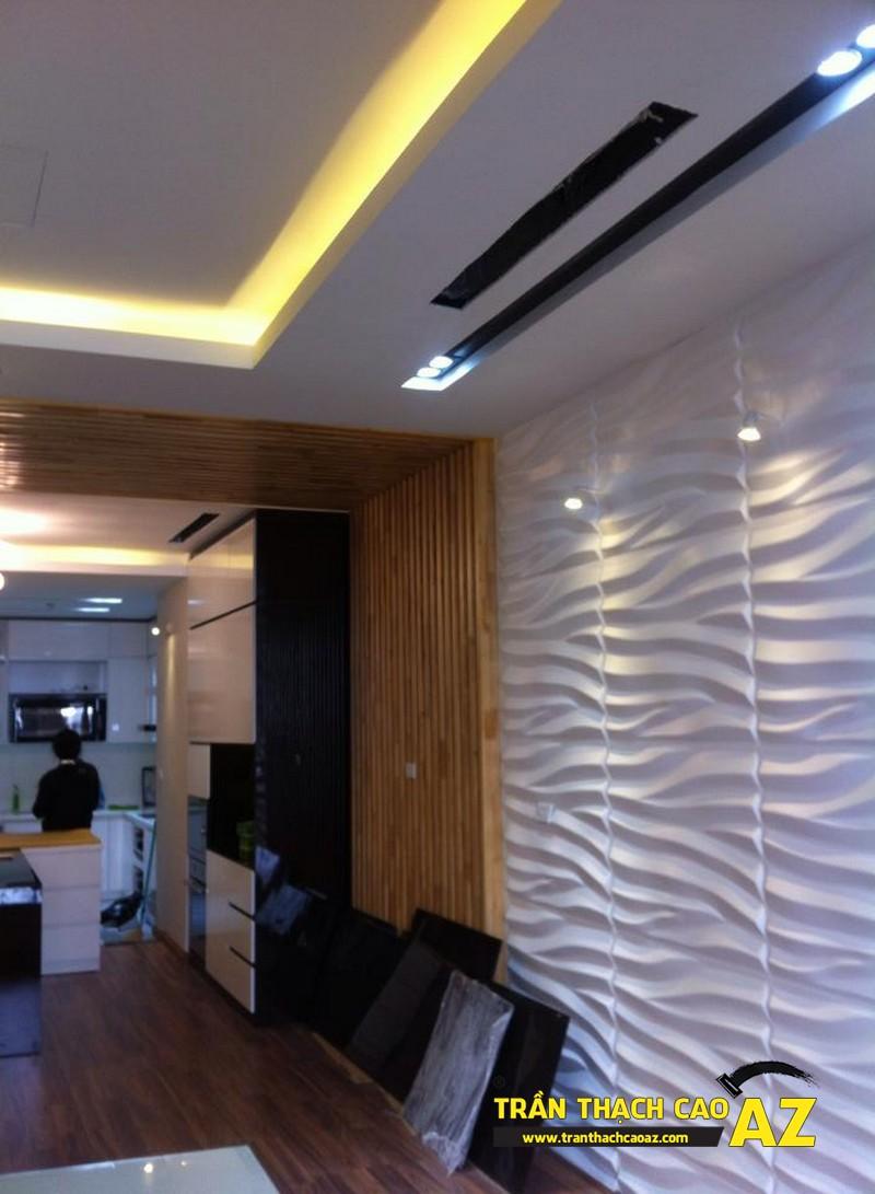 Thiết kế trần thạch cao phòng khách liền bếp đẹp nhà chị Lan 02