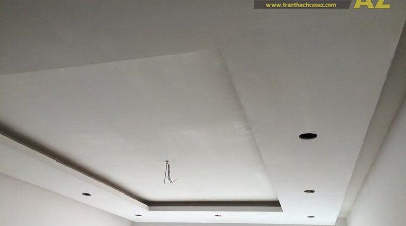 Hoàn thiện thi công trần thạch cao phòng khách nhà ống của gia đình anh Nam, số 23, Tô Hiệu