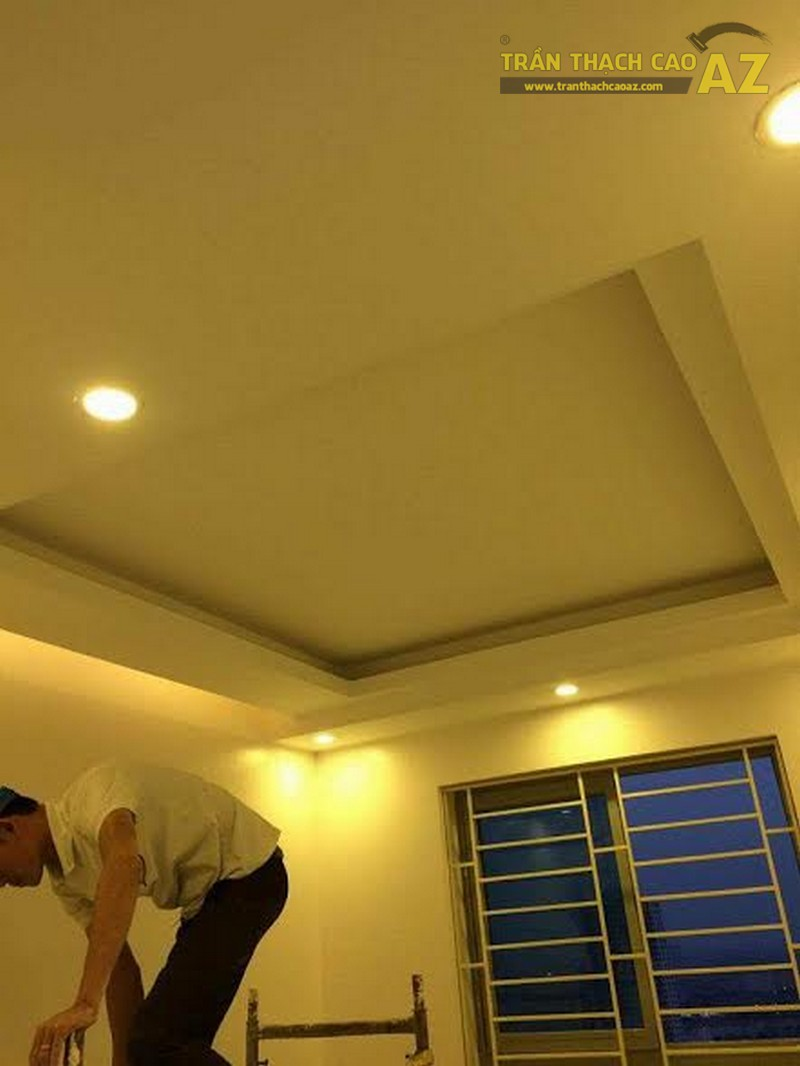 Thi công trần thạch cao nhà anh Lâm chung cư HH2B Linh Đàm