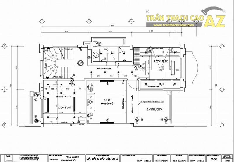 Thiết kế, thi công trần thạch cao cho biệt thự Vinhome Riverside