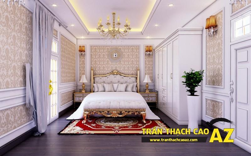 Phương án thiết kế trần thạch cao biệt thự dành cho phòng ngủ con gái của gia đình anh Tài 02