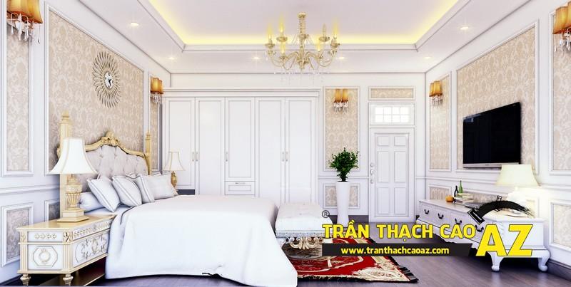 Phương án thiết kế trần thạch cao biệt thự dành cho phòng ngủ con trai của gia đình anh Tài 02