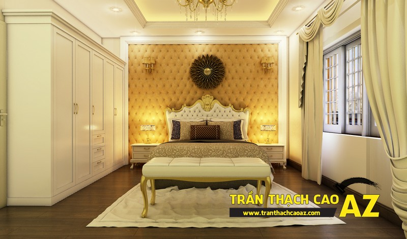 Phương án thiết kế trần thạch cao biệt thự dành cho phòng ngủ vợ chồng của gia đình anh Tài 01