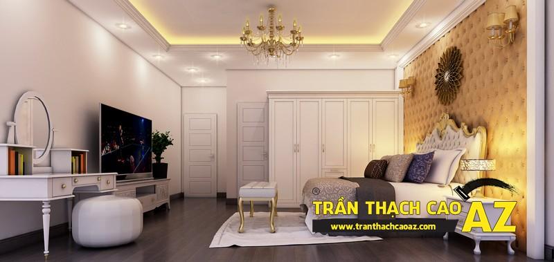 Phương án thiết kế trần thạch cao biệt thự dành cho phòng ngủ vợ chồng của gia đình anh Tài 02