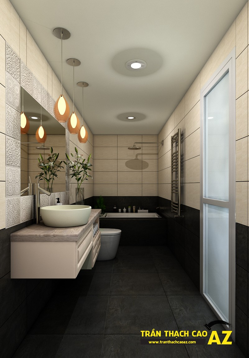 Phương án thiết kế trần thạch cao phòng tắm của 2 người con