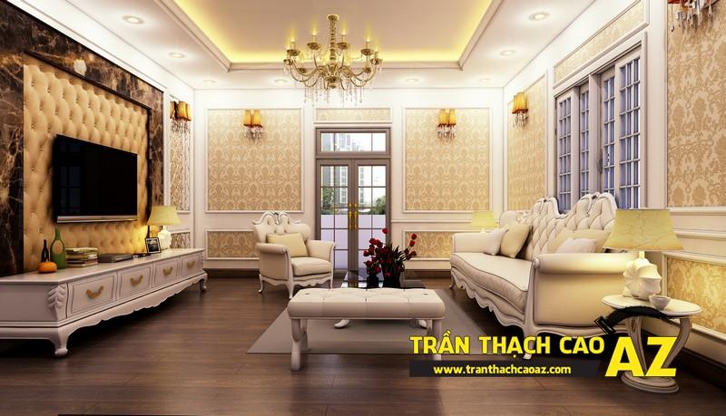 Phương án thiết kế trần thạch cao phòng khách biệt thự  của gia đình anh Tài 01