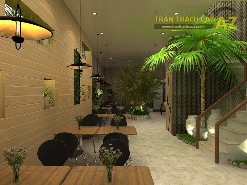 Thiết kế trần thạch cao cho quán trà sữa Hoa Ly tại Hà Nội