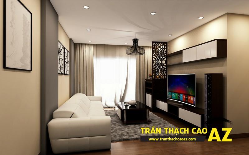 Phương án thiết kế trần thạch cao phòng khách chung cư đẹp hiện đại của gia đình anh Nam 01