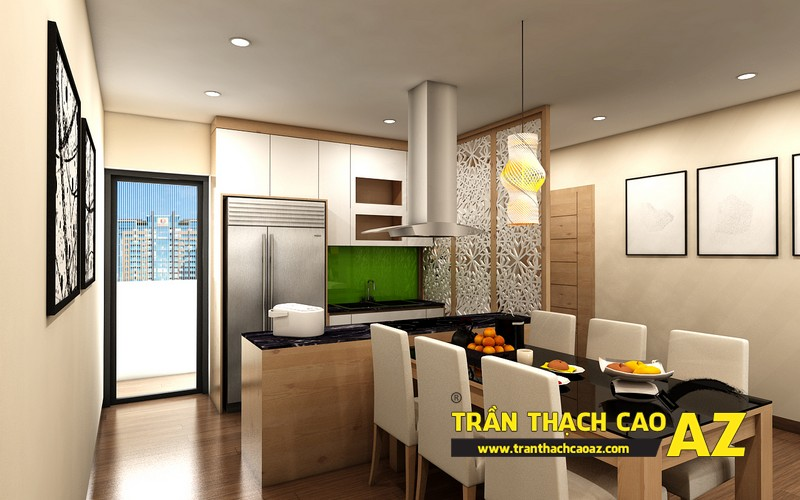 Phương án thiết kế trần thạch cao phòng bếp chung cư đẹp hiện đại của gia đình anh Nam 02