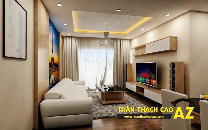 Phương án thiết kế trần thạch cao phòng khách chung cư đẹp hiện đại của gia đình anh Nam 02