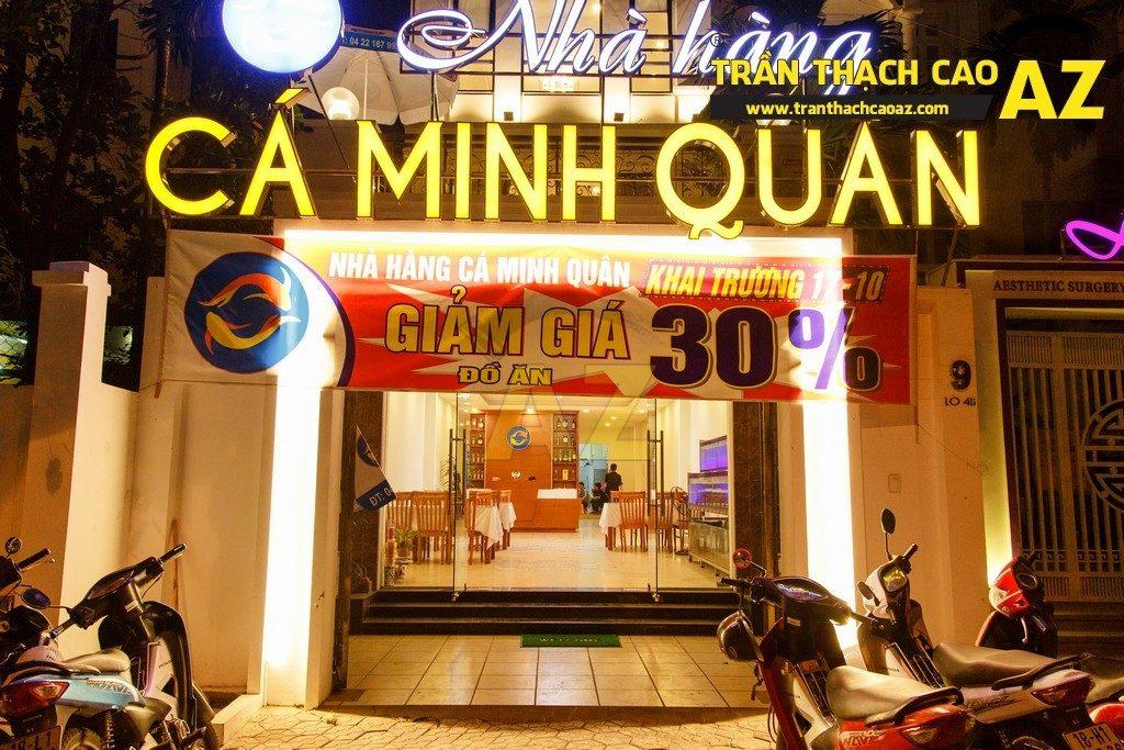Thiết kế trần thạch cao đẹp sang trọng của nhà hàng Cá Minh Quân - 12